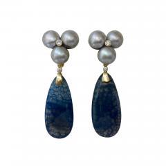 Michael Kneebone Michael Kneebone Blue Dragons Skin Agate Pearl Diamond Dangle Earrings - 1248147