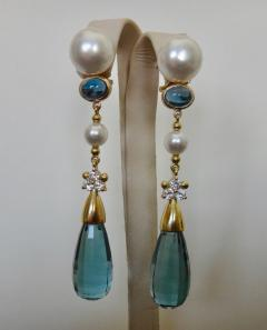 Michael Kneebone Michael Kneebone Blue Topaz Briolette Pearl Diamond Dangle Earrings - 1103513