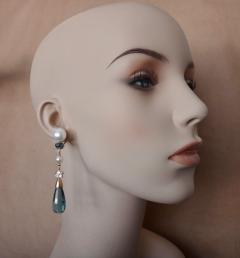 Michael Kneebone Michael Kneebone Blue Topaz Briolette Pearl Diamond Dangle Earrings - 1103514