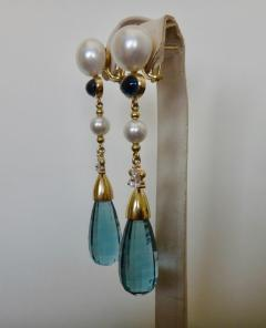 Michael Kneebone Michael Kneebone Blue Topaz Briolette Pearl Diamond Dangle Earrings - 1103515