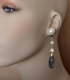 Michael Kneebone Michael Kneebone Blue Topaz Briolette Pearl Diamond Dangle Earrings - 1103516