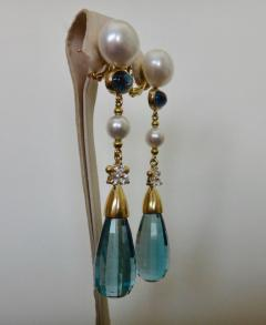 Michael Kneebone Michael Kneebone Blue Topaz Briolette Pearl Diamond Dangle Earrings - 1103519