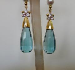 Michael Kneebone Michael Kneebone Blue Topaz Briolette Pearl Diamond Dangle Earrings - 1103521