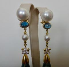 Michael Kneebone Michael Kneebone Blue Topaz Briolette Pearl Diamond Dangle Earrings - 1103522