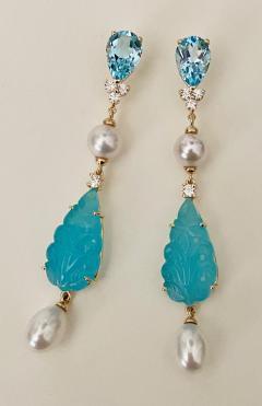Michael Kneebone Michael Kneebone Blue Topaz Diamond Akoya Pearl Blue Chalcedony Dangle Earrings - 1689282