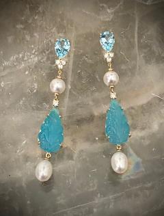 Michael Kneebone Michael Kneebone Blue Topaz Diamond Akoya Pearl Blue Chalcedony Dangle Earrings - 1689284