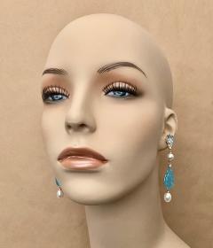 Michael Kneebone Michael Kneebone Blue Topaz Diamond Akoya Pearl Blue Chalcedony Dangle Earrings - 1689285