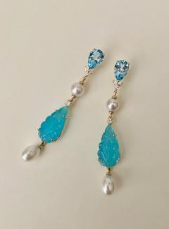 Michael Kneebone Michael Kneebone Blue Topaz Diamond Akoya Pearl Blue Chalcedony Dangle Earrings - 1689286