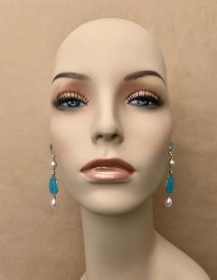 Michael Kneebone Michael Kneebone Blue Topaz Diamond Akoya Pearl Blue Chalcedony Dangle Earrings - 1689287