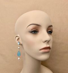 Michael Kneebone Michael Kneebone Blue Topaz Diamond Akoya Pearl Blue Chalcedony Dangle Earrings - 1689292