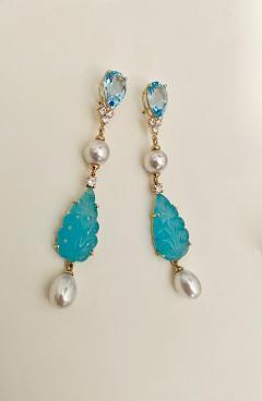 Michael Kneebone Michael Kneebone Blue Topaz Diamond Akoya Pearl Blue Chalcedony Dangle Earrings - 1689293