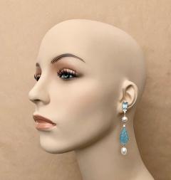 Michael Kneebone Michael Kneebone Blue Topaz Diamond Akoya Pearl Blue Chalcedony Dangle Earrings - 1689294