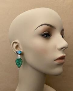 Michael Kneebone Michael Kneebone Blue Topaz Diamond Carved Green Quartz Dangle Earrings - 1719014