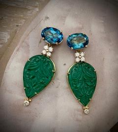 Michael Kneebone Michael Kneebone Blue Topaz Diamond Carved Green Quartz Dangle Earrings - 1719015