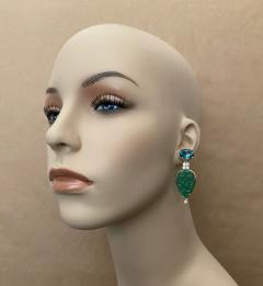 Michael Kneebone Michael Kneebone Blue Topaz Diamond Carved Green Quartz Dangle Earrings - 1719016