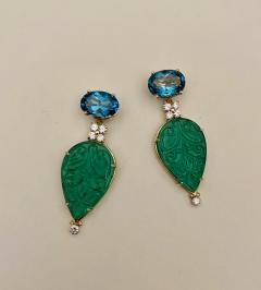 Michael Kneebone Michael Kneebone Blue Topaz Diamond Carved Green Quartz Dangle Earrings - 1719017