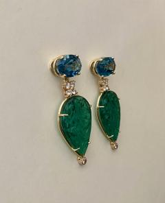 Michael Kneebone Michael Kneebone Blue Topaz Diamond Carved Green Quartz Dangle Earrings - 1719019