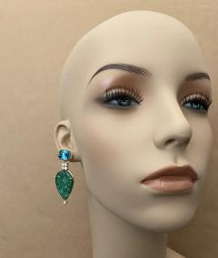 Michael Kneebone Michael Kneebone Blue Topaz Diamond Carved Green Quartz Dangle Earrings - 1719020