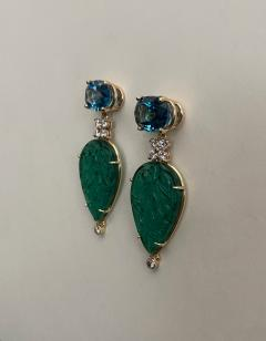 Michael Kneebone Michael Kneebone Blue Topaz Diamond Carved Green Quartz Dangle Earrings - 1719021
