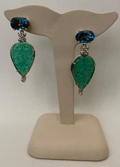 Michael Kneebone Michael Kneebone Blue Topaz Diamond Carved Green Quartz Dangle Earrings - 1719022