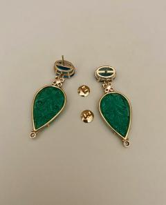 Michael Kneebone Michael Kneebone Blue Topaz Diamond Carved Green Quartz Dangle Earrings - 1719023