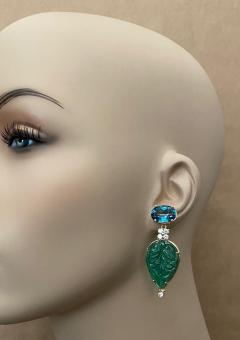 Michael Kneebone Michael Kneebone Blue Topaz Diamond Carved Green Quartz Dangle Earrings - 1719024