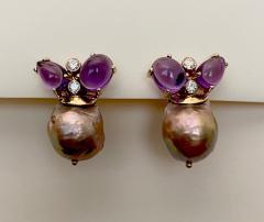 Michael Kneebone Michael Kneebone Cabochon Amethyst Diamond Japanese Pearl Drop Earrings - 1499104