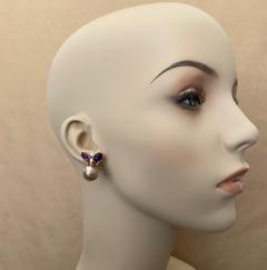 Michael Kneebone Michael Kneebone Cabochon Amethyst Diamond Japanese Pearl Drop Earrings - 1499105