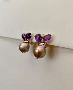 Michael Kneebone Michael Kneebone Cabochon Amethyst Diamond Japanese Pearl Drop Earrings - 1499107