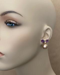 Michael Kneebone Michael Kneebone Cabochon Amethyst Diamond Japanese Pearl Drop Earrings - 1499108