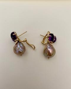 Michael Kneebone Michael Kneebone Cabochon Amethyst Diamond Japanese Pearl Drop Earrings - 1499120