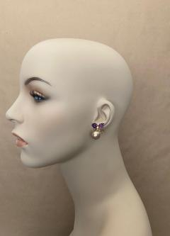Michael Kneebone Michael Kneebone Cabochon Amethyst Diamond Japanese Pearl Drop Earrings - 1499125