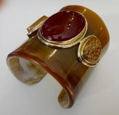 Michael Kneebone Michael Kneebone Carnelian Petrified Palm Wood Ankole Horn Cuff Bracelet - 1082956