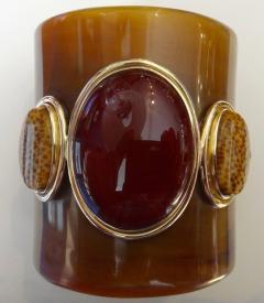 Michael Kneebone Michael Kneebone Carnelian Petrified Palm Wood Ankole Horn Cuff Bracelet - 1082957