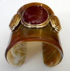 Michael Kneebone Michael Kneebone Carnelian Petrified Palm Wood Ankole Horn Cuff Bracelet - 1082961