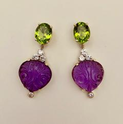 Michael Kneebone Michael Kneebone Carved Amethyst Peridot Diamond Dangle Earrings - 1528217