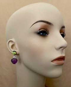 Michael Kneebone Michael Kneebone Carved Amethyst Peridot Diamond Dangle Earrings - 1528218