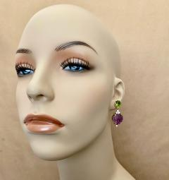 Michael Kneebone Michael Kneebone Carved Amethyst Peridot Diamond Dangle Earrings - 1528220