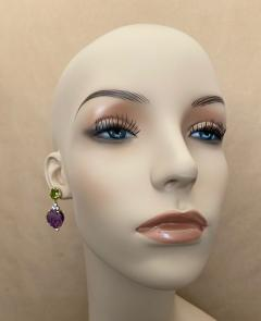 Michael Kneebone Michael Kneebone Carved Amethyst Peridot Diamond Dangle Earrings - 1528223