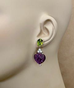 Michael Kneebone Michael Kneebone Carved Amethyst Peridot Diamond Dangle Earrings - 1528225
