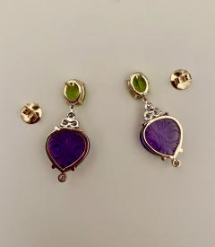 Michael Kneebone Michael Kneebone Carved Amethyst Peridot Diamond Dangle Earrings - 1528226