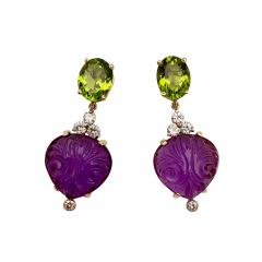 Michael Kneebone Michael Kneebone Carved Amethyst Peridot Diamond Dangle Earrings - 1528722