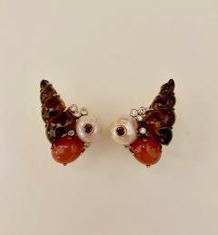 Michael Kneebone Michael Kneebone Carved Citrine Orange Moonstone Diamond Cluster Earrings - 1359810