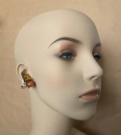 Michael Kneebone Michael Kneebone Carved Citrine Orange Moonstone Diamond Cluster Earrings - 1359812