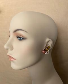 Michael Kneebone Michael Kneebone Carved Citrine Orange Moonstone Diamond Cluster Earrings - 1359839