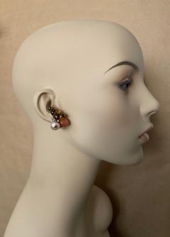 Michael Kneebone Michael Kneebone Carved Citrine Orange Moonstone Diamond Cluster Earrings - 1359847