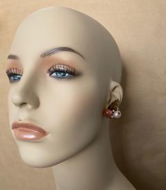 Michael Kneebone Michael Kneebone Carved Citrine Orange Moonstone Diamond Cluster Earrings - 1359853