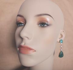 Michael Kneebone Michael Kneebone Carved Emerald and White Diamond Dangle Earrings - 1230466