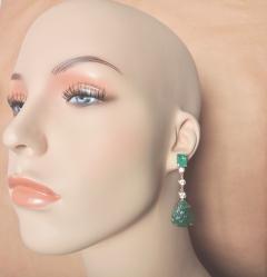 Michael Kneebone Michael Kneebone Carved Emerald and White Diamond Dangle Earrings - 1230470