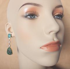 Michael Kneebone Michael Kneebone Carved Emerald and White Diamond Dangle Earrings - 1230472